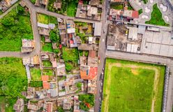 Aerial Shot Of Small City In The Andean Highlands, Ecuador stock images