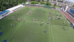 Aerial shot of sports festival at the stadium stock video footage