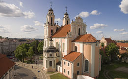 Aerial shot of St. Catherine Kotrynos church in Vilnius Stock Photo