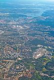 Aerial shot Stockholm Globe and Tele2 Arena. STOCKHOLM, SWEDEN - JUNE 1, 2018: Aerial shot over Stockholm with landmarks Stockholm Globe and Tele2 Arena during stock photography