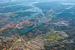 Aerial shot Stockholm Sodermalm Globe and Tele2 Arena. STOCKHOLM, SWEDEN - JUNE 1, 2018: Aerial shot over Stockholm with landmarks Stockholm Globe and Tele2 royalty free stock photo