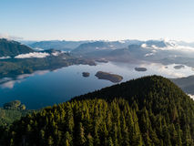 Aerial shot of sunrise over Tofino bay Stock Photography