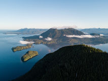 Aerial shot of sunrise over Tofino bay Stock Photos