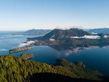 Aerial shot of sunrise over Tofino bay Royalty Free Stock Image