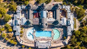 Bath Sections taken from a height by a drone. Aerial shot of swimming pool Gellert spa and bath Budapest, Hungary. Aerial view royalty free stock photos