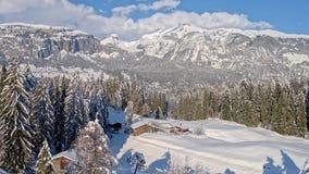 Snowy Hut Winter Conn Aerial 4k