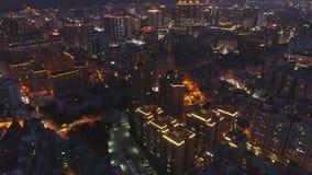 Aerial Shot of Taoyuan City Skyline at Night. stock video