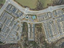 Aerial view top to bottom of typical homes in southern United States. Aerial shot top to bottom of typical homes in southern United States royalty free stock image