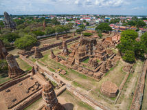 Aerial shot of tourists travelling ancient temple Royalty Free Stock Images