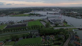 Aerial shot of town in Netherlands stock video