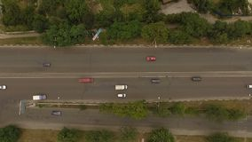 Aerial shot of traffic on the bridge. The action in the real time stock footage