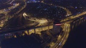 Aerial shot of traffic on overpass at night, Tianjin, China stock video