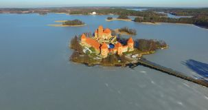 Aerial shot of Trakai old castle stock footage