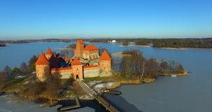 Aerial shot of Trakai old castle. And Galve lake, Lithuania stock footage