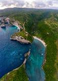 Aerial shot of the tropical coast of the island of Nusa Penida Stock Image