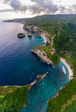 Aerial shot of the tropical coast of the island of Nusa Penida Royalty Free Stock Images