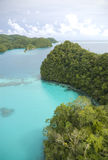 Aerial shot of tropical rock islands and lagoon Royalty Free Stock Photography