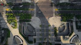 Aerial view of urban crossroad on a sunny day stock images