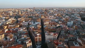 Aerial shot of Valencia with Serranos Towers, Spain. Aerial panorama of Valencia with ancient Serranos Towers built between 1392 and 1398. Historical city stock video
