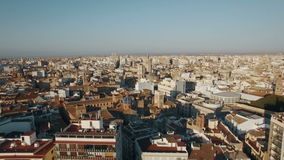 Aerial shot of Valencia, Spain. Aerial view of Valencia centre with ancient cathedral. Panorama of city from descending drone, Spain stock footage