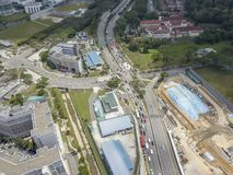 Aerial shot of vehicles at traffic junction stock image