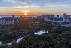 Aerial shot of Victory Park in Odessa Royalty Free Stock Image