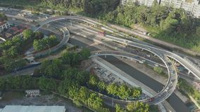 Aerial shot, view from the drone on the road junction of Kuala-Lumpur, Malaysia. stock video
