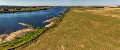 Aerial shot of the Vistula river. royalty free stock photos