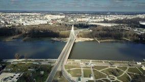 Aerial shot of Vistula river and cable bridge in Warsaw, Poland Royalty Free Stock Photo