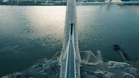 Aerial shot of Vistula river and Holy Cross cable bridge in Warsaw, Poland Stock Images