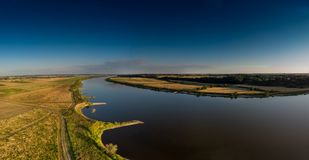 Aerial shot of the Vistula river. Royalty Free Stock Photo