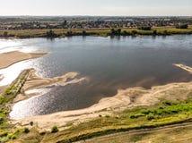 Aerial shot of the Vistula river. stock images