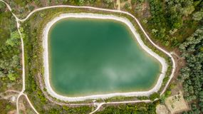 Aerial shot of a water reservoir.  Royalty Free Stock Image