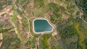 Aerial shot of a water reservoir.  Stock Image