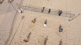 Aerial Shot Young People Playing Volleyball At Beach Sand Playground Sunny Day Stock Footage
