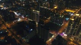 Aerial Shot of Zhubei City Skyline at Night. stock video footage