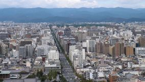 Aerial shots of the city of Kyoto. stock video footage