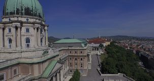 Aerial shots of Royal palace or Buda Castle in Budapest city stock video footage
