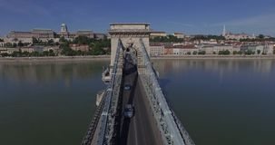 Aerial shots of the Royal palace and the Chain bridge in Budapest city