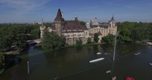 Aerial shots of Vajdahunyad Castle in Budapest, Hungary stock video footage