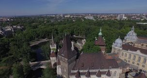 Aerial shots of Vajdahunyad Castle in Budapest, Hungary stock video