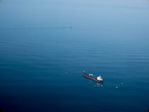 Aerial side view of oil tanker ship. On open sea Stock Photo