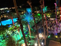 Aerial of Silent Disco Dance party at Music festival Wanderlust yoga event. Palm Springs - October 27, 2018: Aerial of Silent Disco Dance party at Music festival stock photos