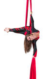 Aerial silk dancer Royalty Free Stock Photo