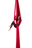 Aerial silk dancer Royalty Free Stock Image