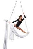 Aerial silk dancer Stock Photo