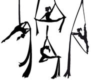 Aerial silk dancer in silhouette. Illustration stock illustration