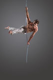 Aerial silk male performer Stock Images