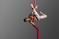 Aerial silk male performer Stock Photos