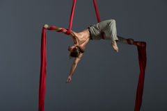 Aerial silk male performer. Sporty young man doing exercise with elastics, aerial silk ribbons, aerial. Sport training gym and lifestyle concept. Anti-gravity royalty free stock photography